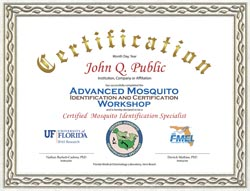 Advance Mosquito ID course certificate