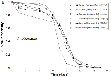 Graph showing survival of albopictus and triseriatus
